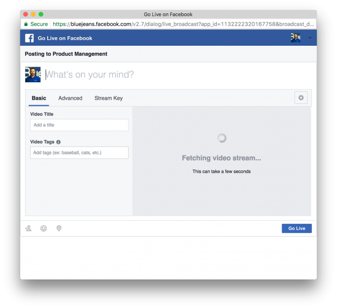 Broadcasting to Workplace by Facebook