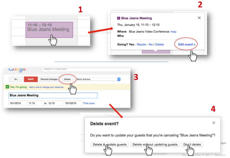 Delete meetings from Google calendar