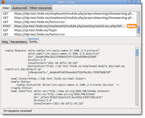Collecting SAML traces using Firefox