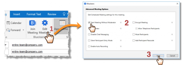 Updating 'Advanced Meeting Options' for meetings scheduled