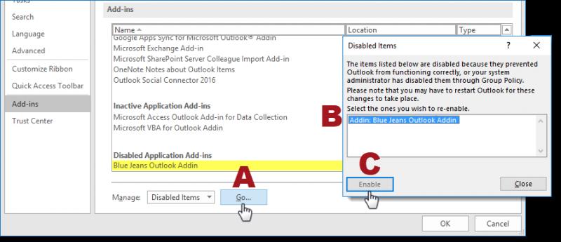 Windows Outlook Plugin no longer visible