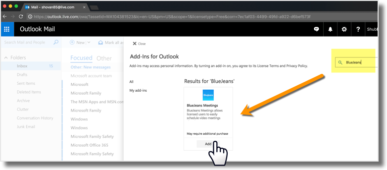 BlueJeans Outlook Add-in - End User Installation Guide