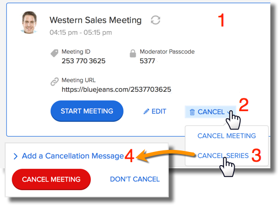 How to cancel a scheduled meeting